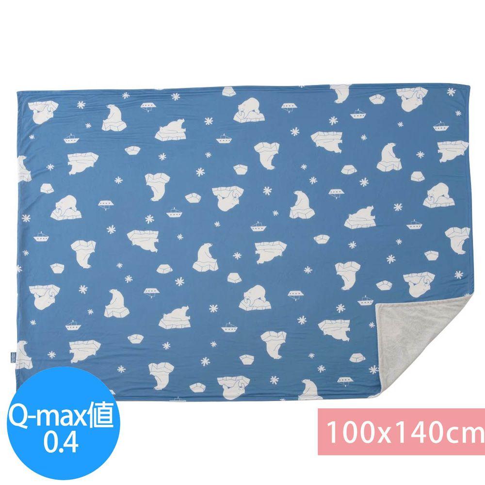 日本小泉 - 節電對策冷感薄毯-北極熊21-水藍 (100x140cm)
