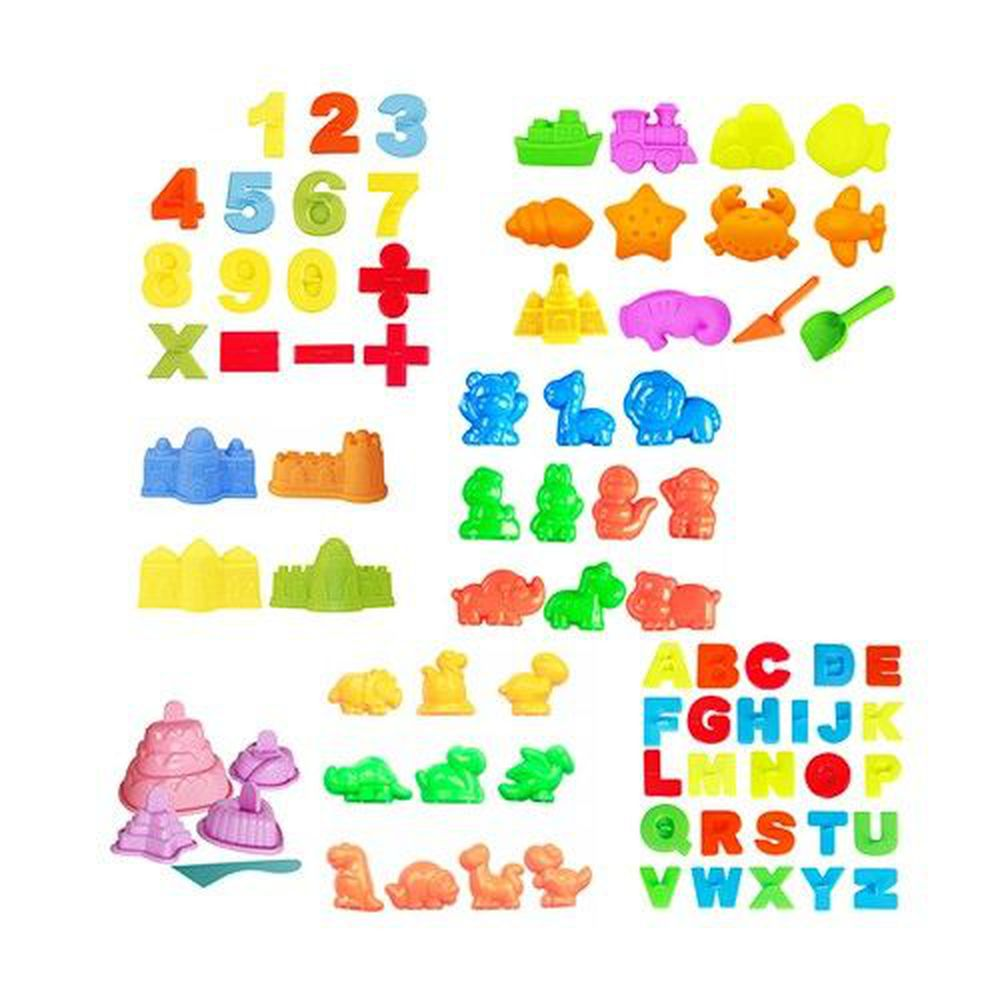TUMBLING SAND 翻滾動力沙 - 超值玩沙模具82件組-小城堡4件組+海灘模具12件組+動物10件組+數字教學15件組+英文字母26件組+糕點5件組+恐龍10件組