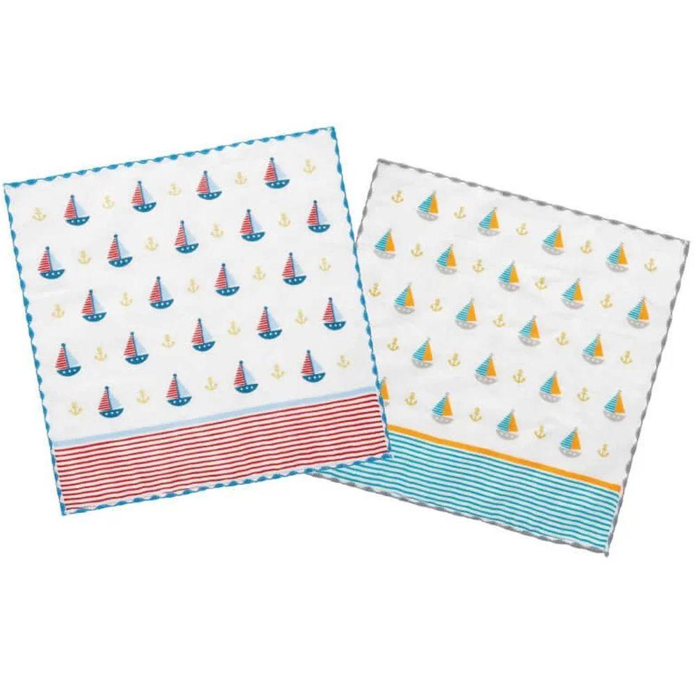 貝柔 Peilou - 童話抗菌紗布小方巾-帆船-紅色+綠色 (26x26cm)-6入組