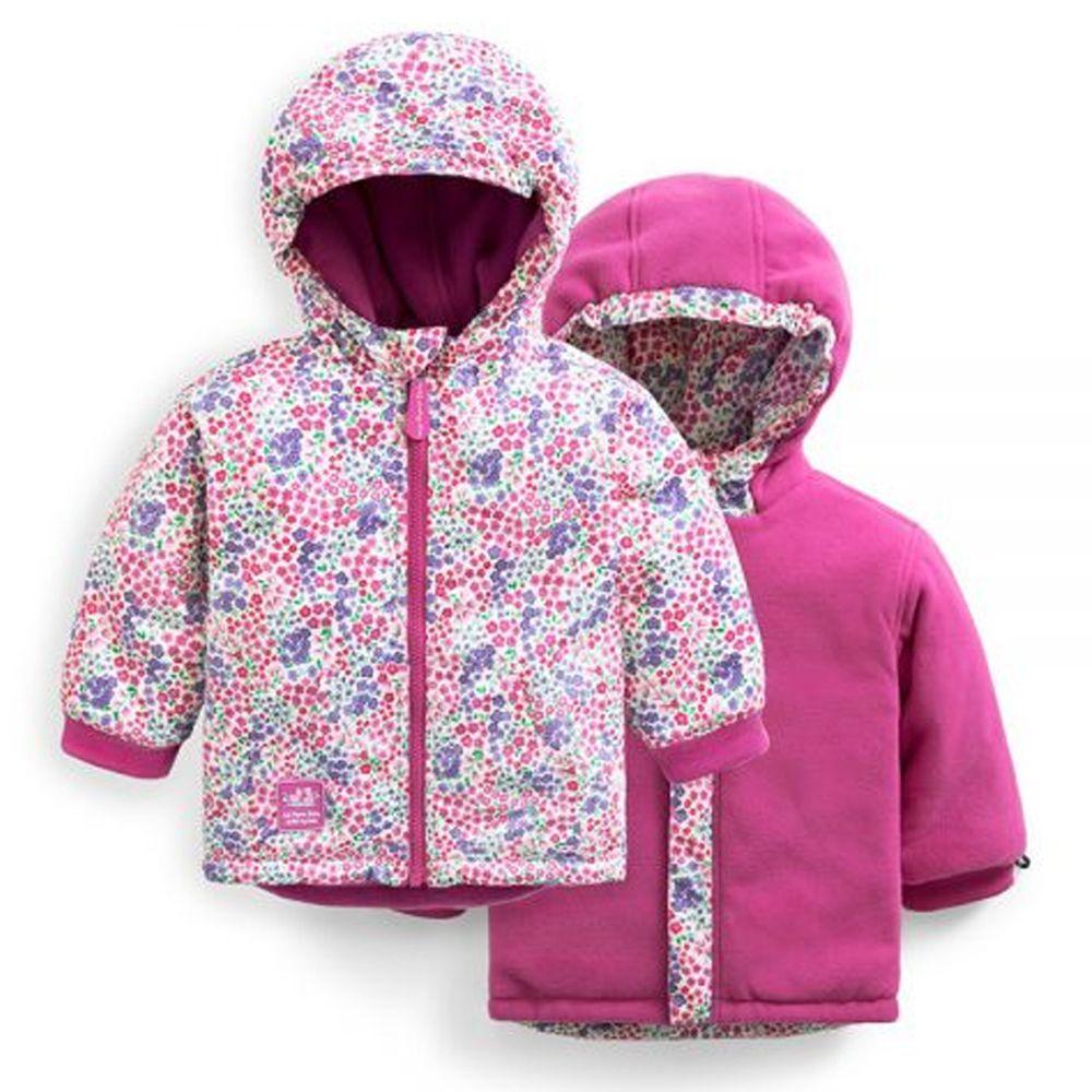 英國 JoJo Maman BeBe - 雙面穿羊毛襯裡防雨保暖連帽外套-桃紅花園