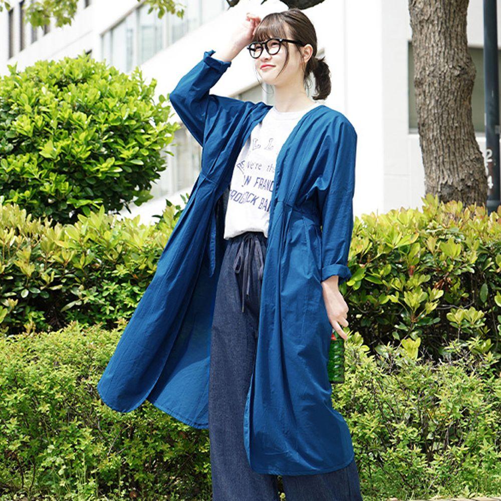 日本 zootie - 純印度棉長版綁帶罩衫/外套-墨水藍 (F)