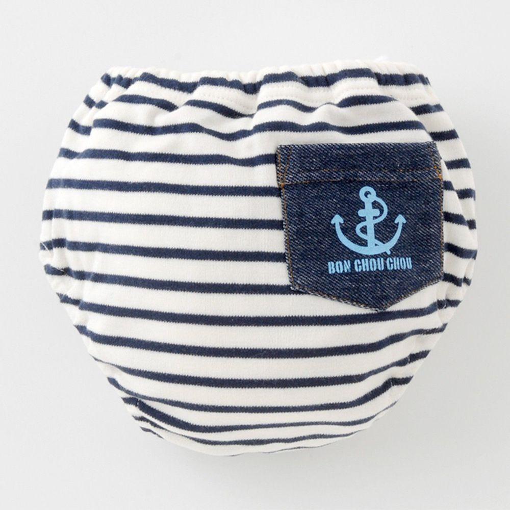 日本 Chuckle Baby - 四層學習褲-條紋-藍白