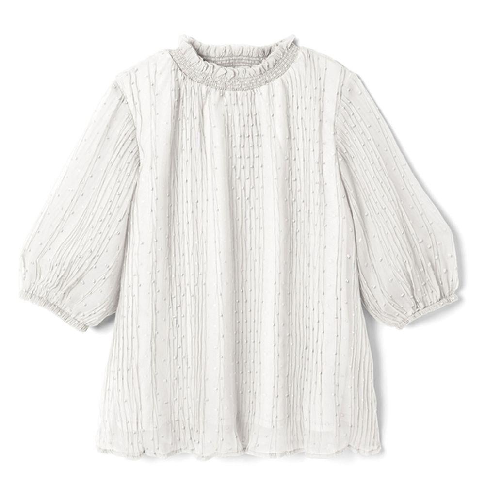 日本 GRL - 滿天星點抓皺設計五分袖上衣-天使白