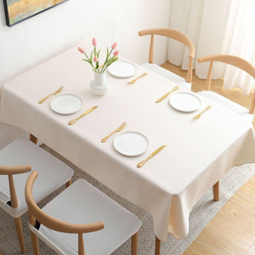 棉麻防水防髒桌布-米白色