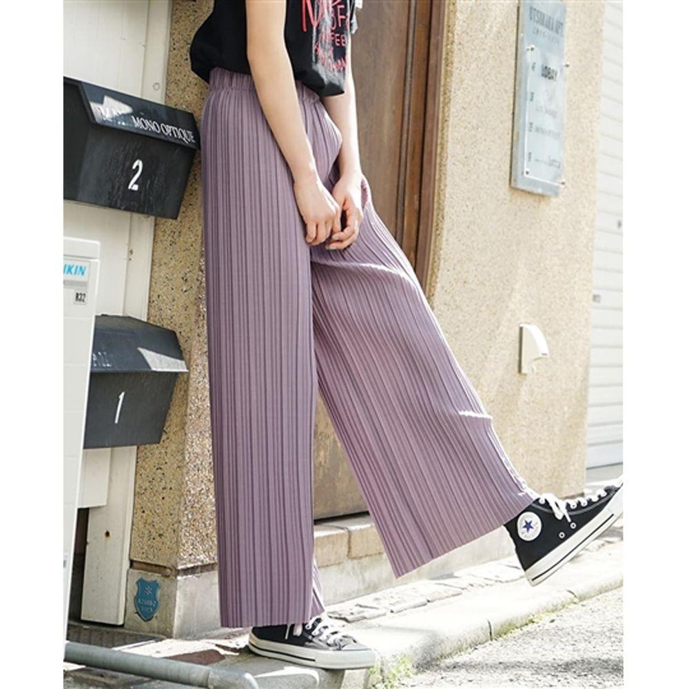 日本 zootie - 繽紛顯瘦百褶風琴寬褲-灰紫 (M)