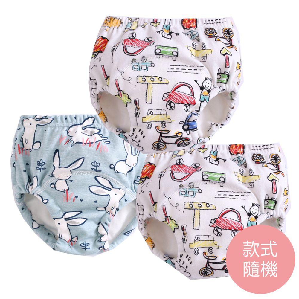 JoyNa - 6層紗嬰兒尿布褲 鬆緊隔尿褲-3件入-手繪卡通+隨機2入