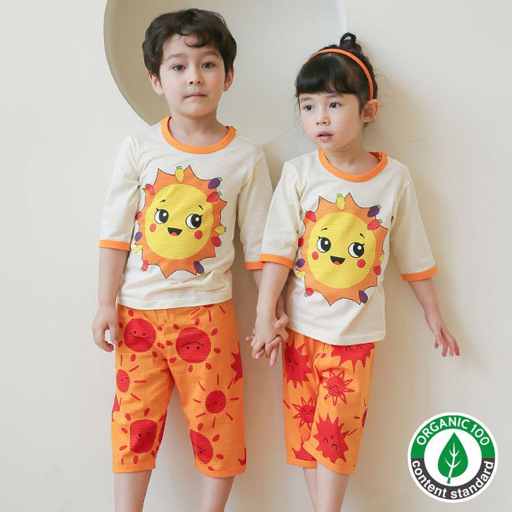 韓國 Puco - 有機棉透氣七分袖家居服-微笑太陽
