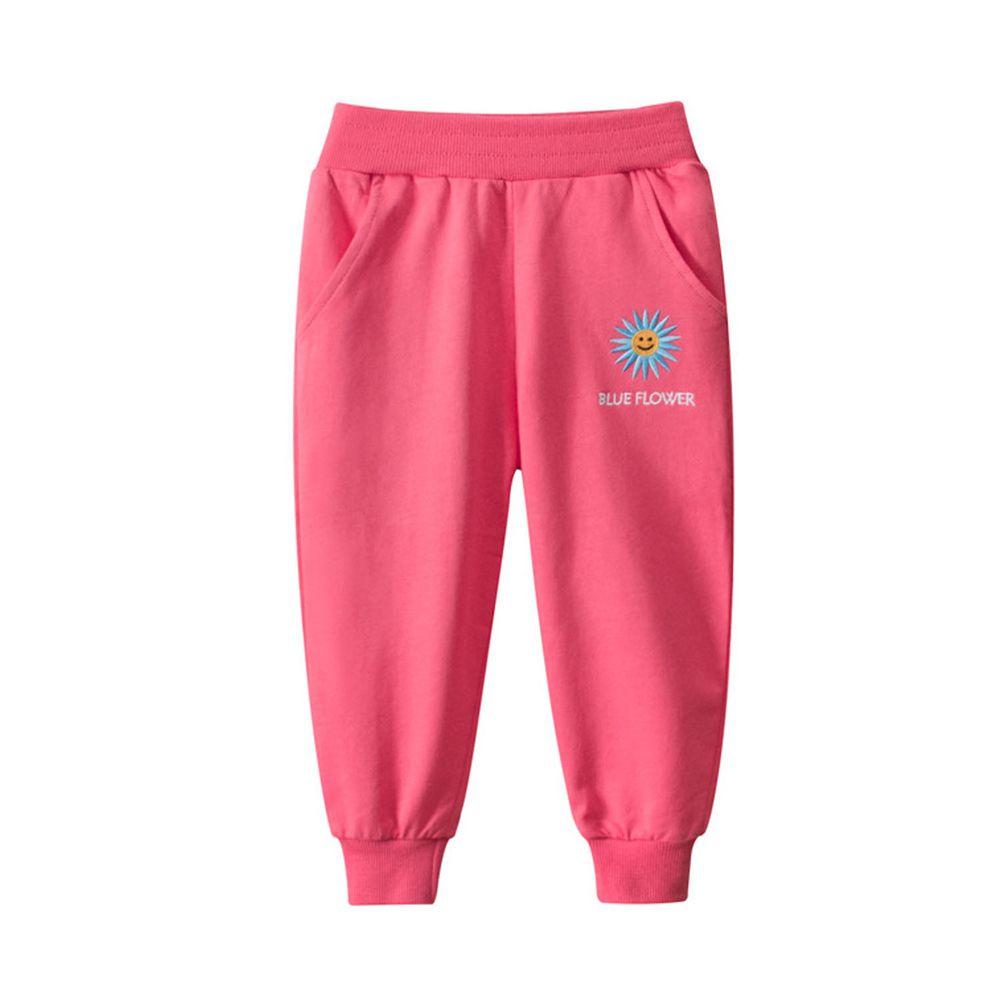 純棉縮口運動長褲-花朵刺繡-桃紅色