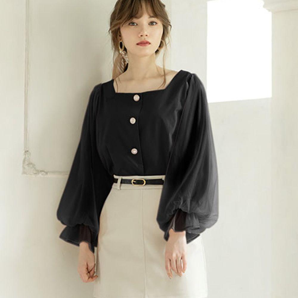 日本 GRL - 方領排釦薄紗澎澎袖上衣-時尚黑