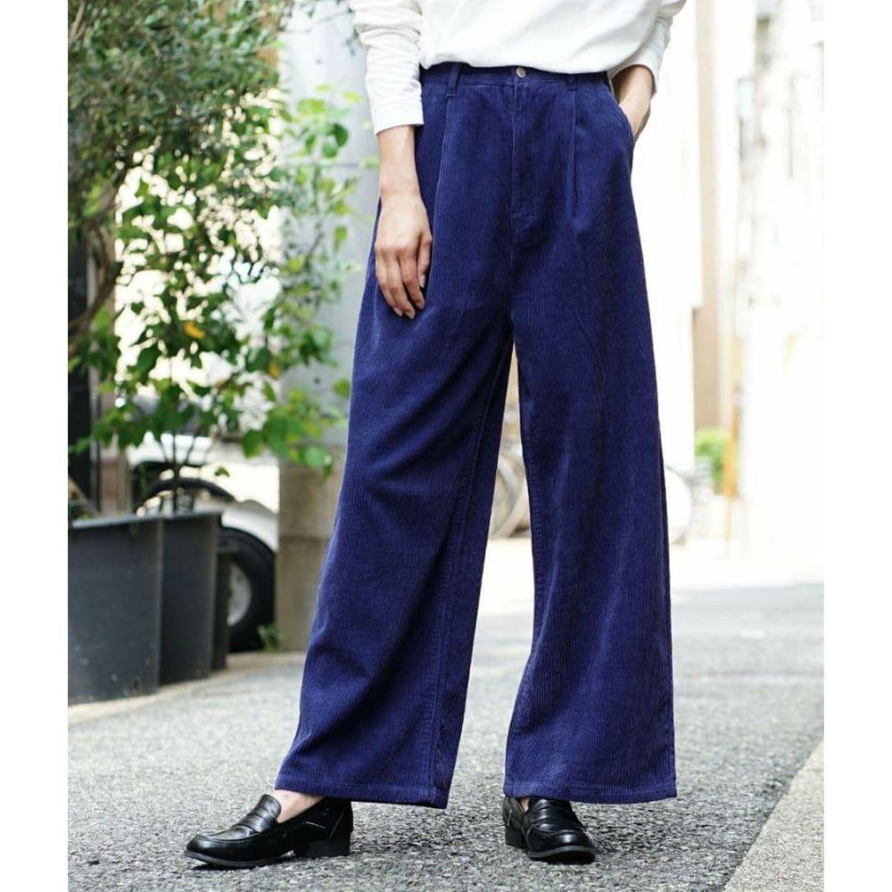 日本 zootie - 俐落帥氣燈芯絨寬褲-深藍