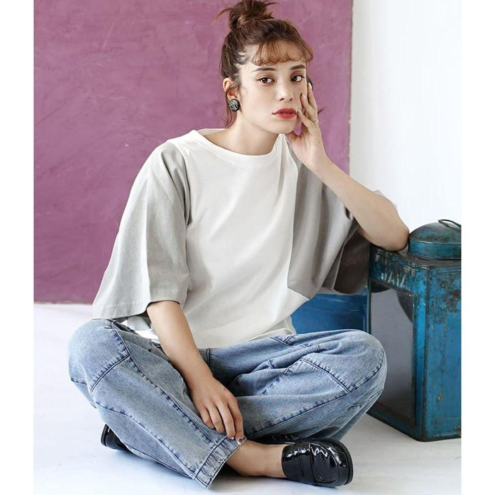 日本 zootie - 抗透汗 撞色顯瘦設計寬版五分袖上衣-白X灰