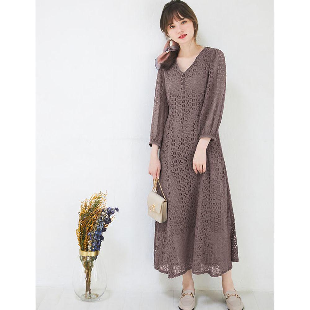 日本 GRL - V領蕾絲雕花長袖洋裝-咖啡