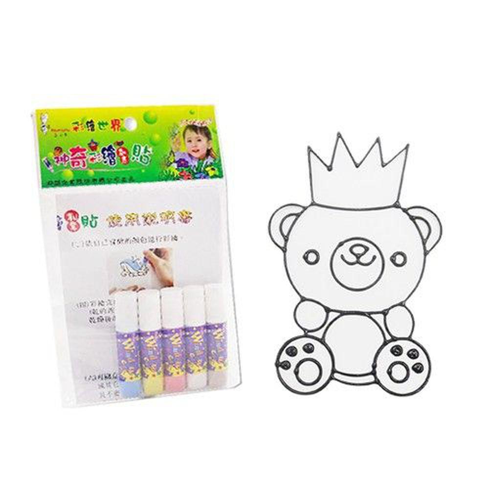 愛玩色創意館 - 彩繪玻璃貼隨手包-30皇冠熊-6ml彩繪筆*5+圖框*1+說明書