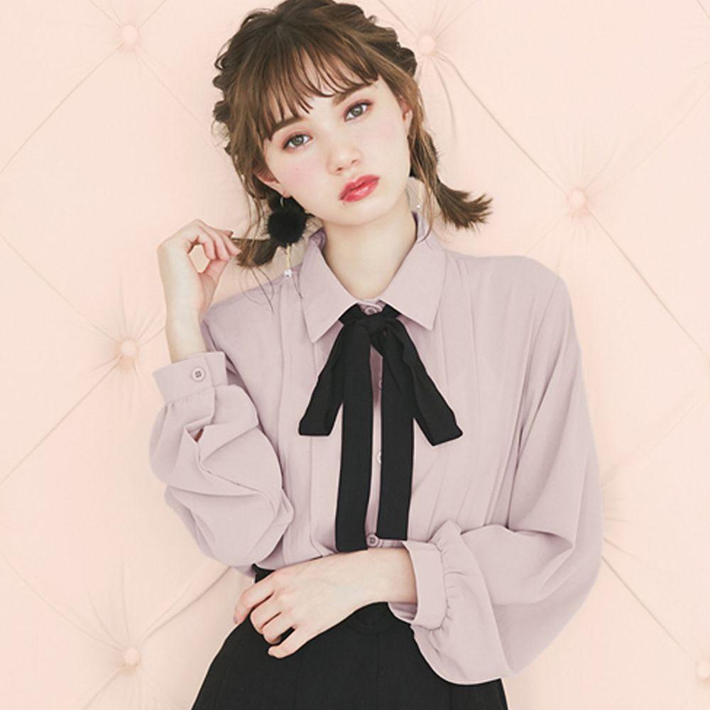 日本 GRL - 大黑蝴蝶結綁帶雪紡長袖襯衫-灰紫