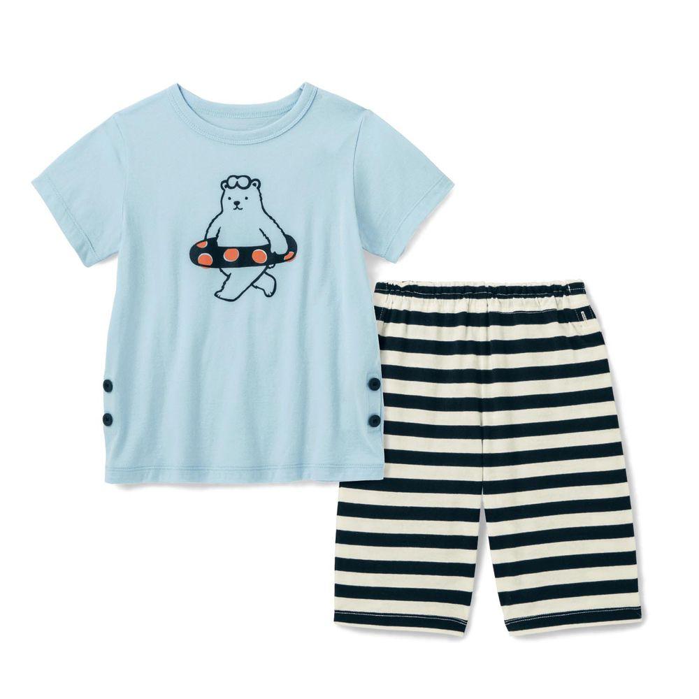 日本千趣會 - 純棉涼爽舒適短袖家居服(兒童)-北極熊-水藍