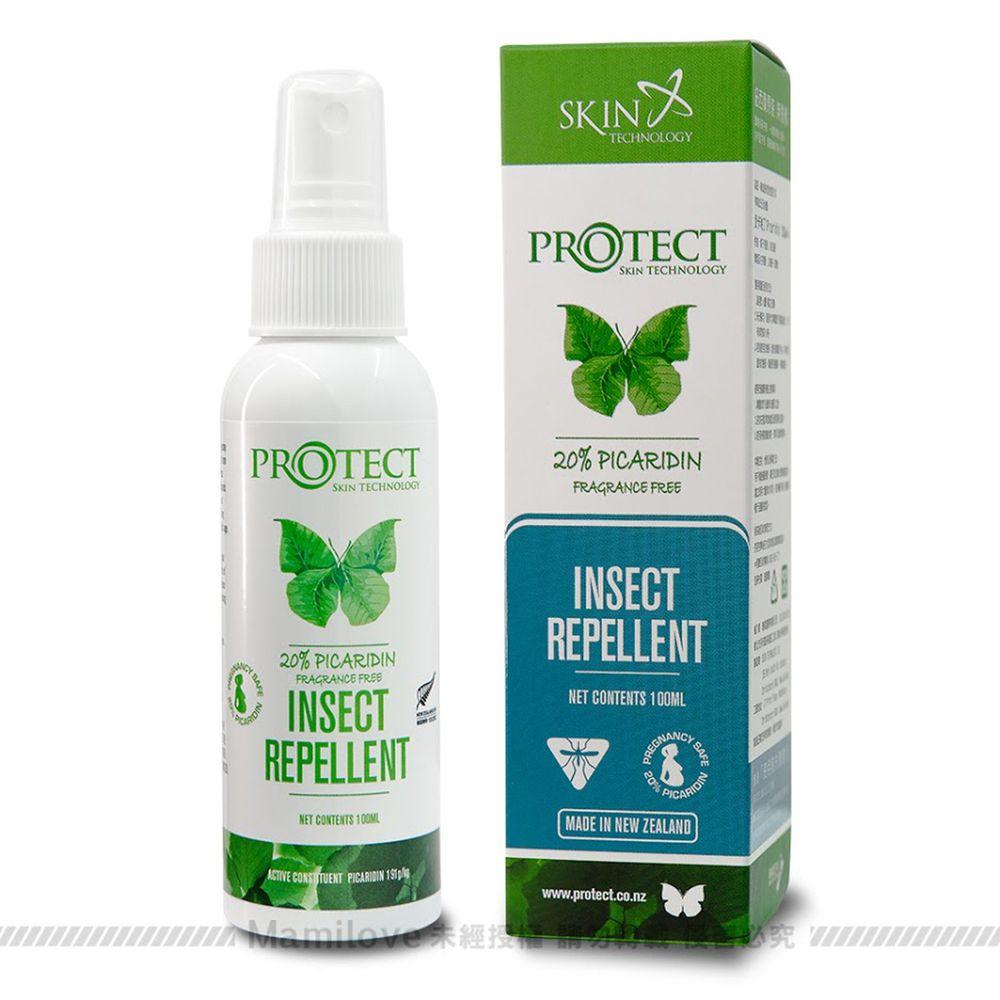 紐西蘭 Skin Technology Protect - 20%派卡瑞丁Picaridin 瑞斌長效防蚊噴霧-無香精-100ml (有效期限到: 2022/12/01)