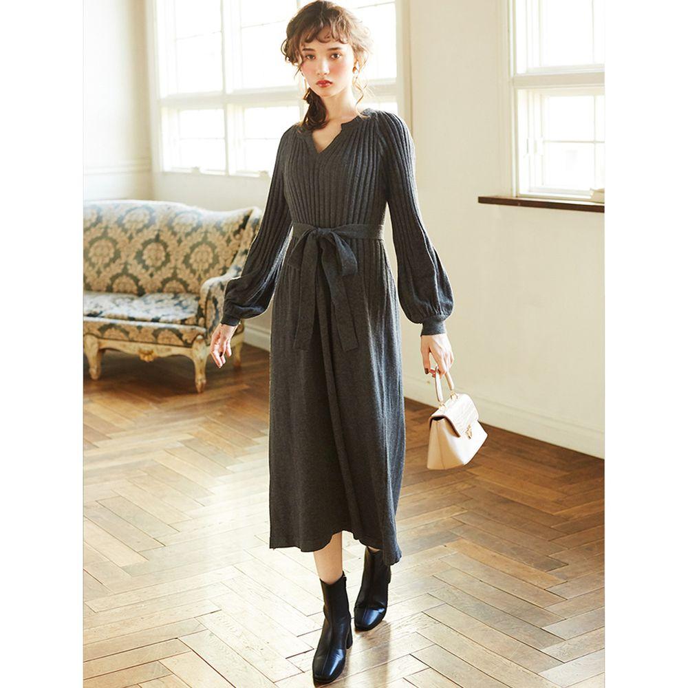 日本 GRL - 顯瘦設計圓澎袖小V領針織長袖洋裝-石墨灰