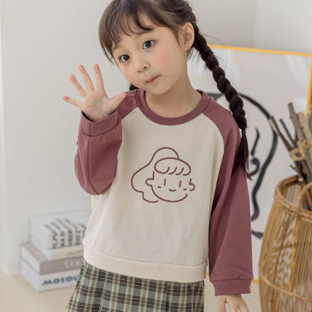 韓國 Orange Mom - 馬尾女孩拼色棉T-米杏