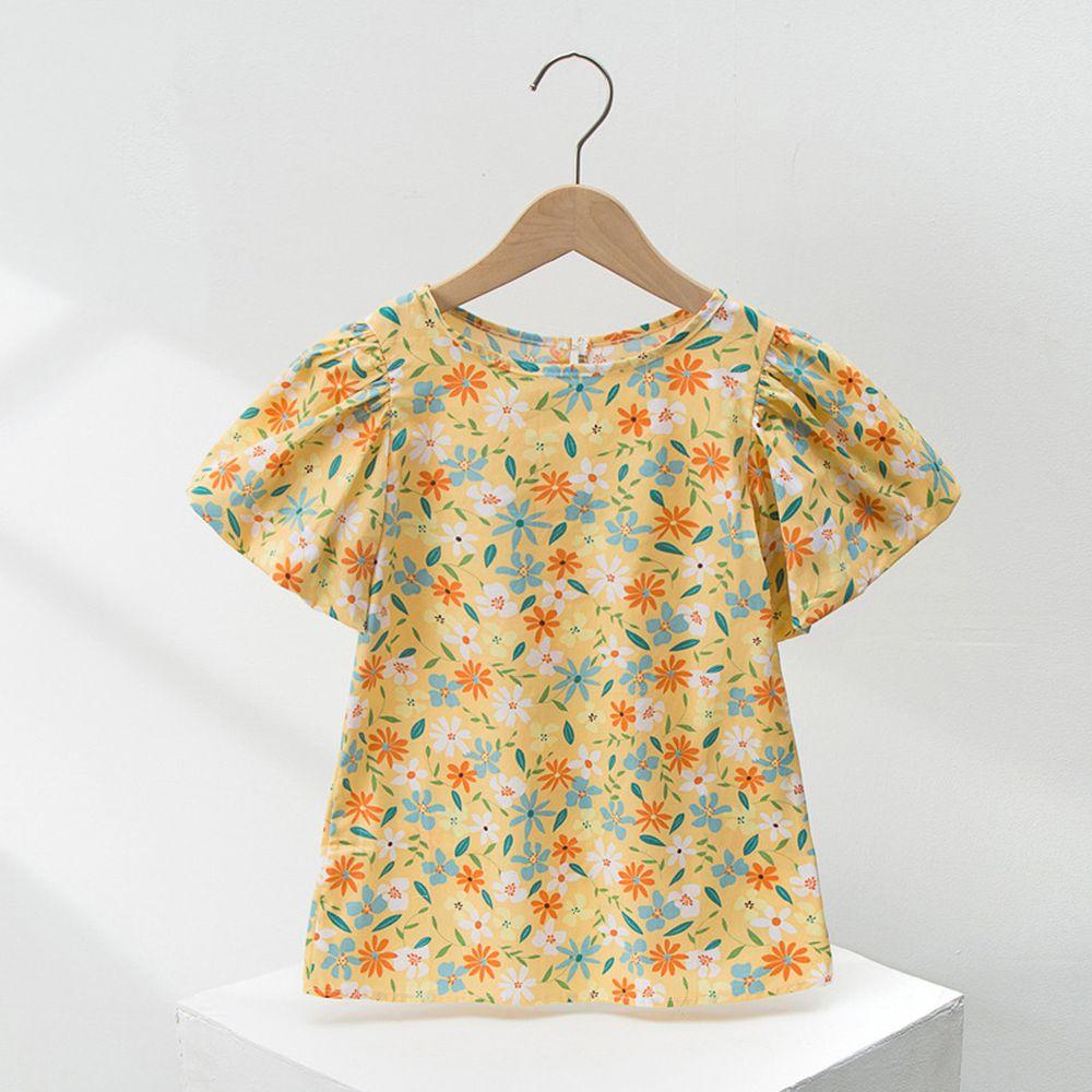 澎澎燈籠袖純棉洋裝-黃色花朵