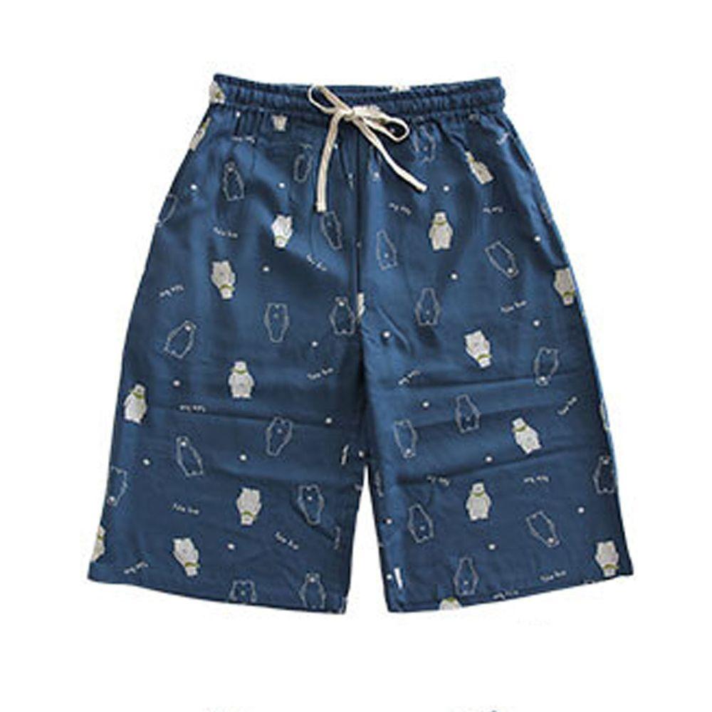 日本女裝代購 - COOL 涼感柔軟舒適家居五分褲/睡褲-北極熊-深藍 (M-L Free)