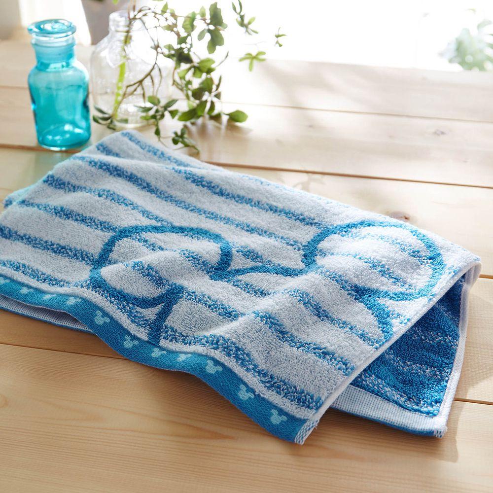 日本千趣會 - 迪士尼 吸水速乾抗菌長毛巾-線條-水藍 (34x80cm)