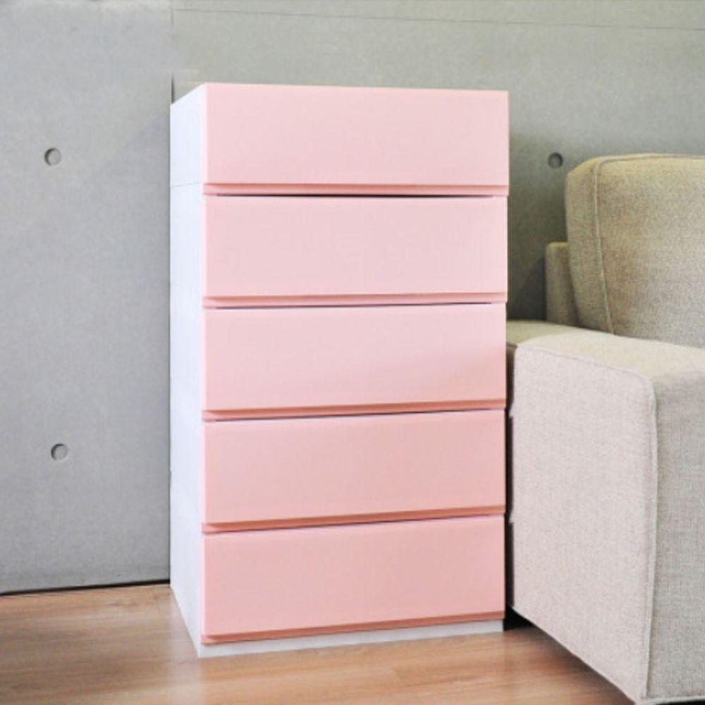 日本伸和 Shinwa - 日本製五層抽屜收納櫃-DIY組裝-櫻花粉-單層32L*5層