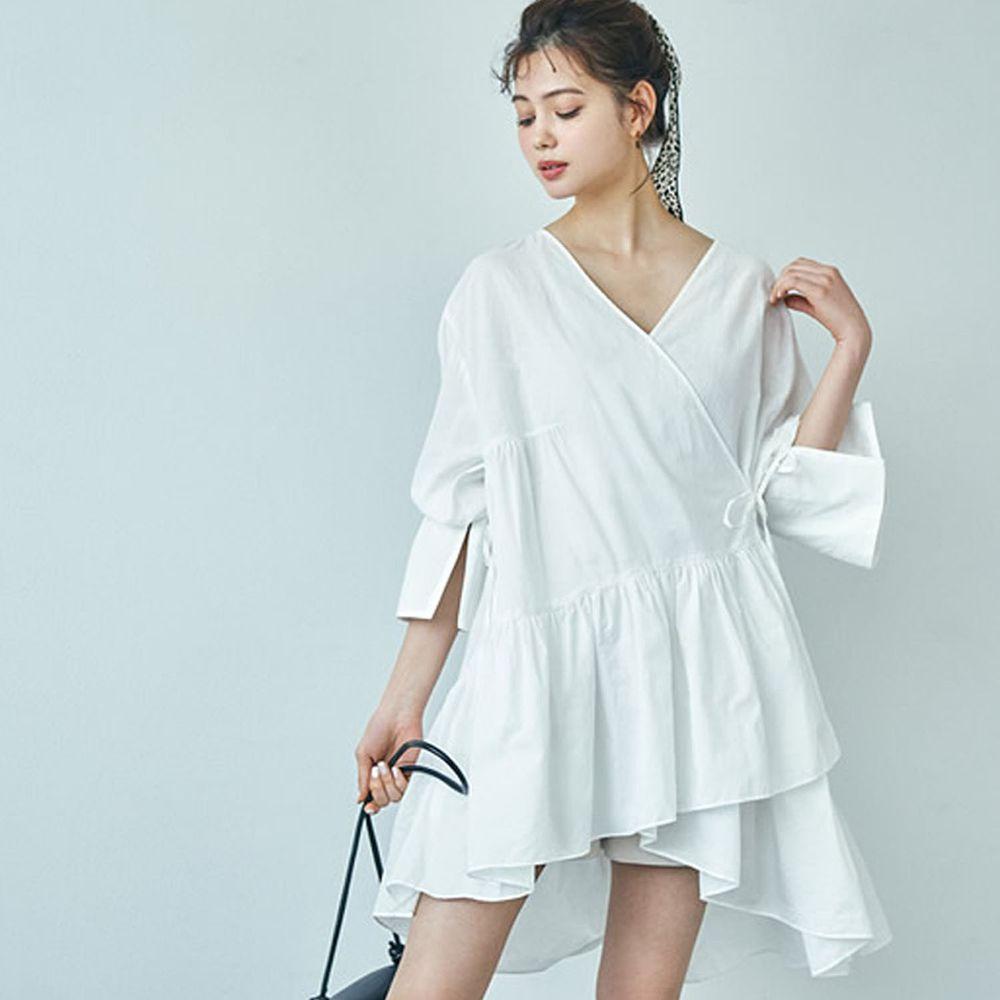 日本 GRL - 不規則剪裁荷葉邊七分袖洋裝-白