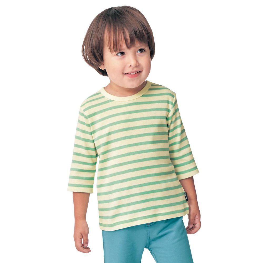 日本千趣會 - GITA 純棉輕薄舒適七分袖T-橫條紋-綠