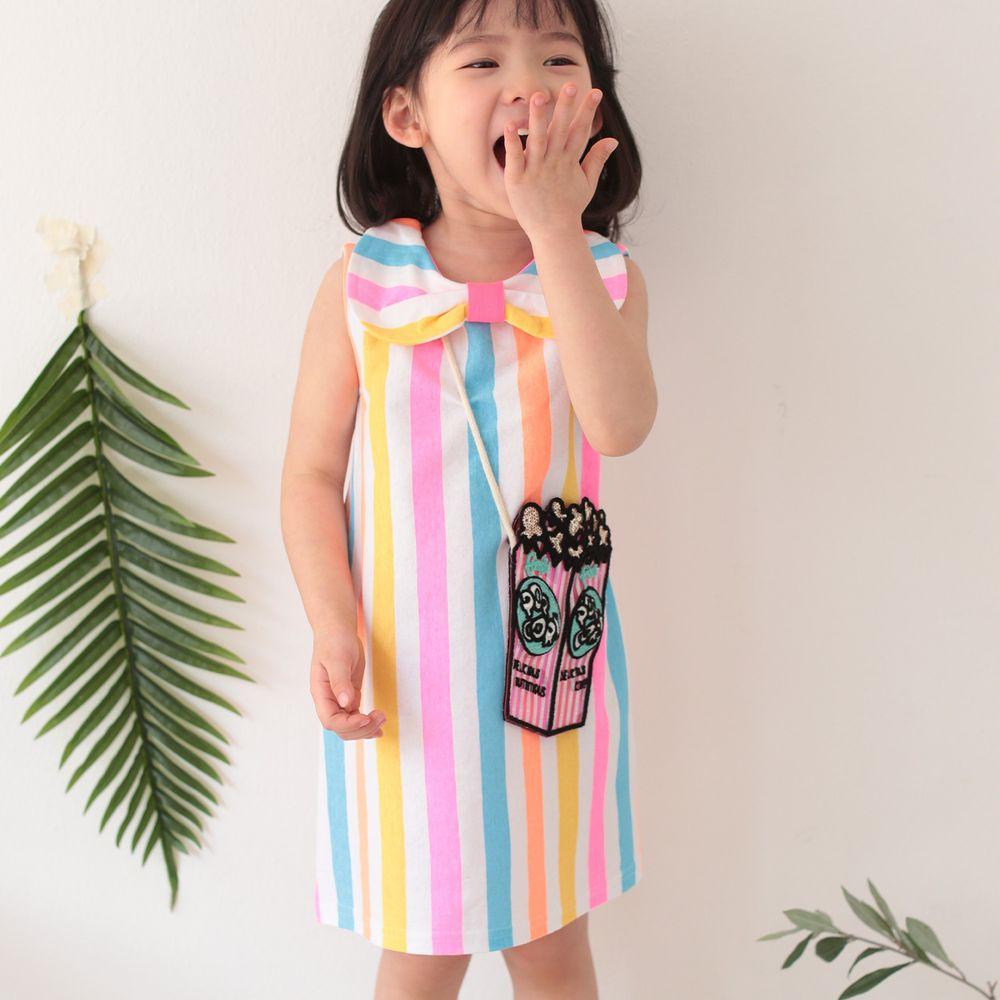 韓國 Coco Rabbit - (剩S)爆米花包包彩虹蝴蝶結洋裝-天藍/粉紅