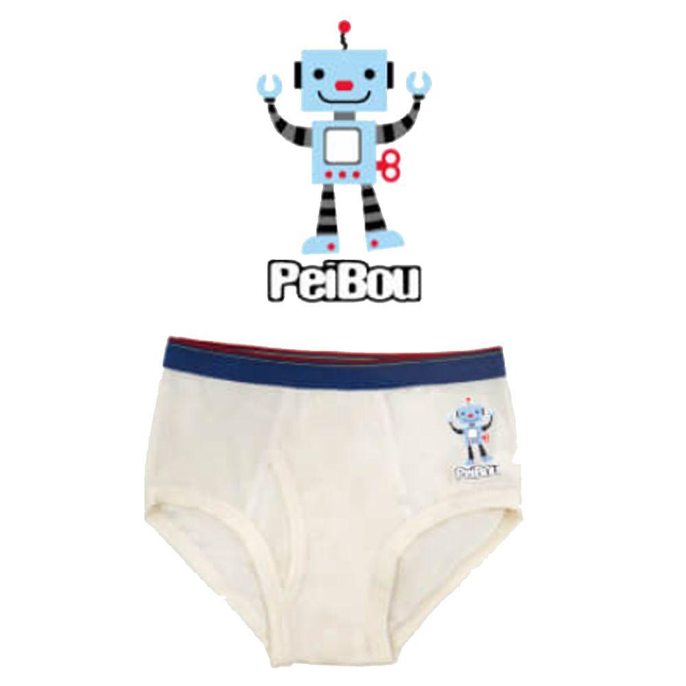 貝寶 - 天絲棉舒膚平衡童男三角褲-機器人-白色