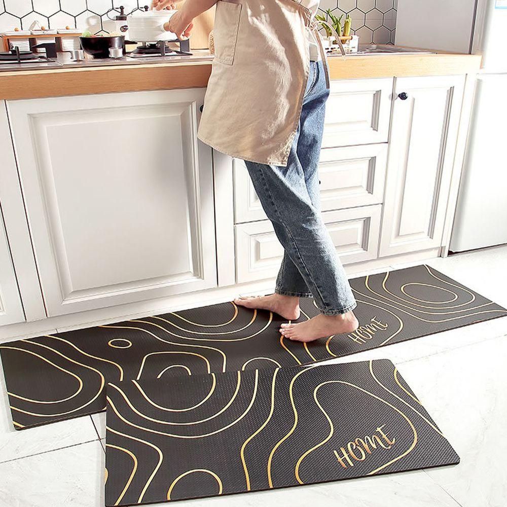 廚房仿皮革PVC防水腳踏墊-黑金線條