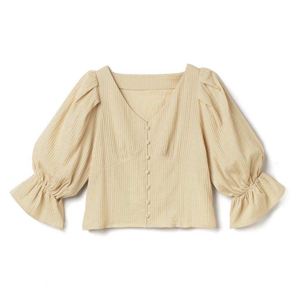 日本 GRL - V領排釦立體羅紋糖果五分袖上衣-氣質米