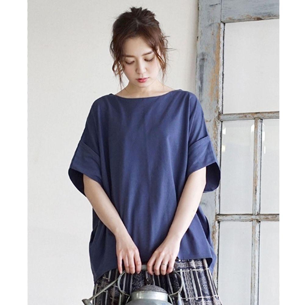 日本 zootie - Design+ 顯瘦立體感剪裁落肩五分袖上衣-寶藍
