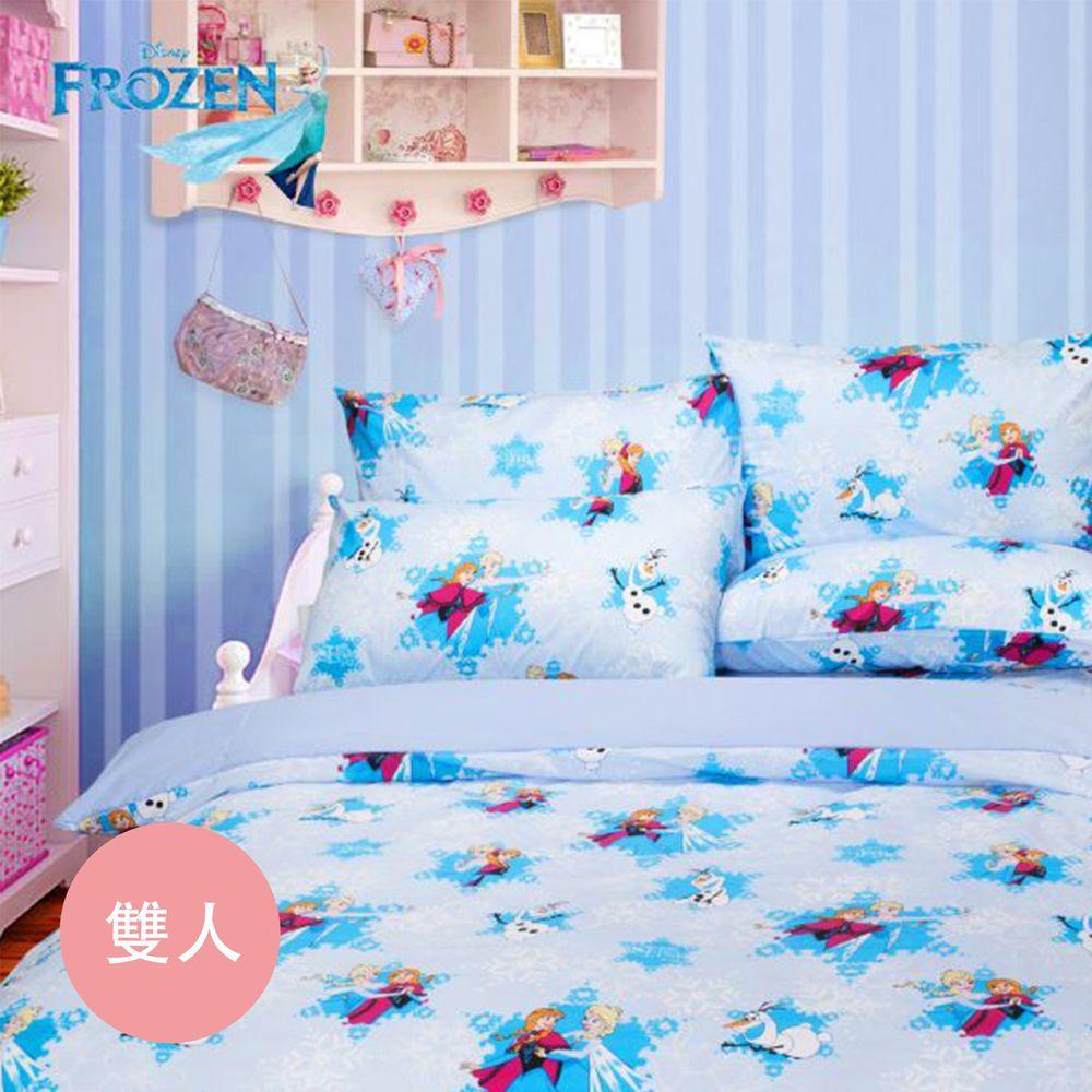 伊尚厚 YSH - 冰雪奇緣 夢幻魔法 藍 床包冬夏兩用被-雙人四件組-5x6.2尺