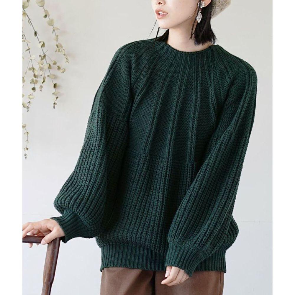 日本 zootie - 立體粗細拼接針織毛衣-深綠