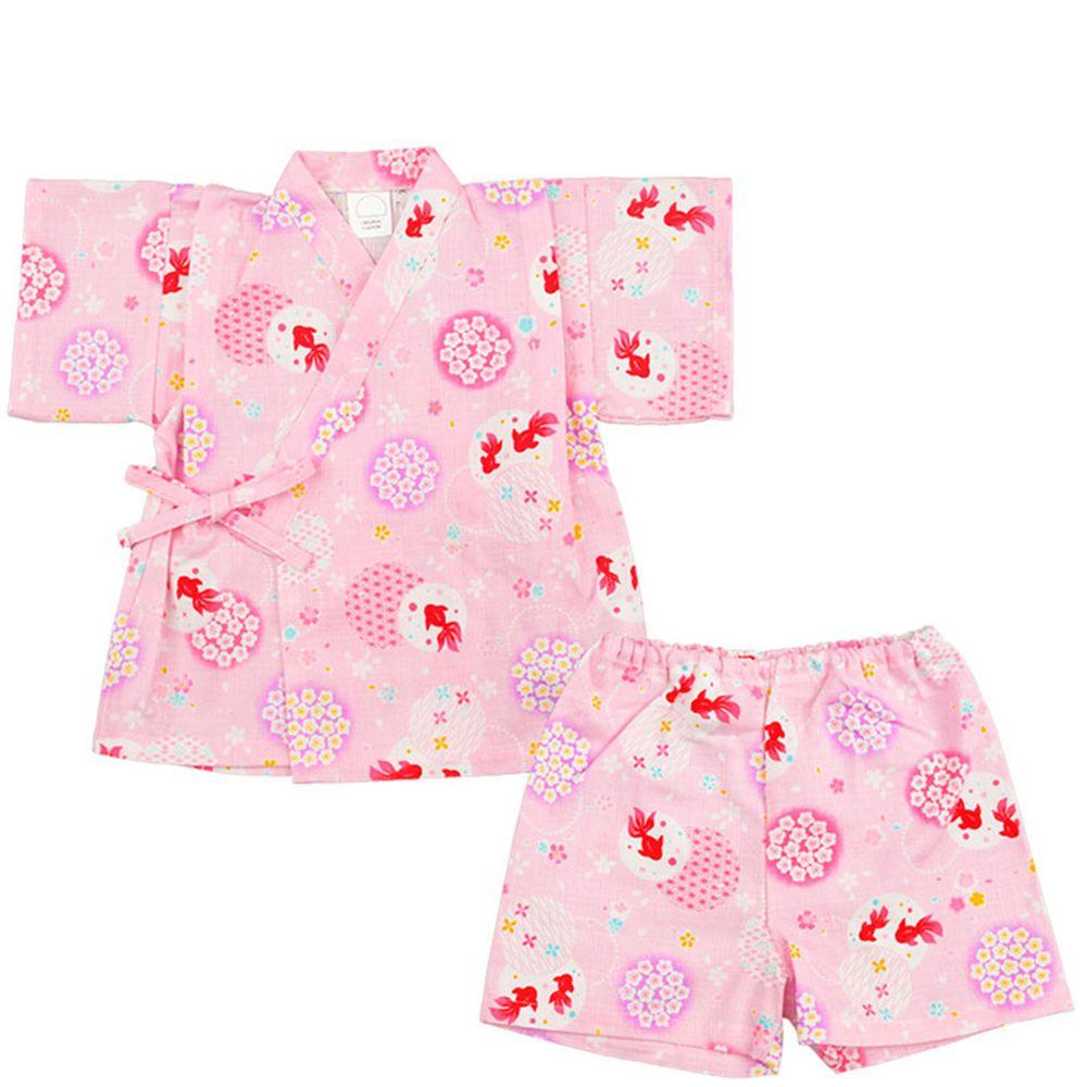 akachan honpo - 幼童兩件式甚平-金魚-粉紅色