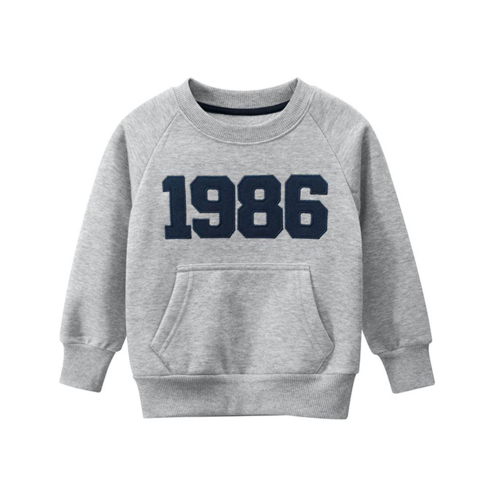 棉質長袖大學T-數字1986-灰色