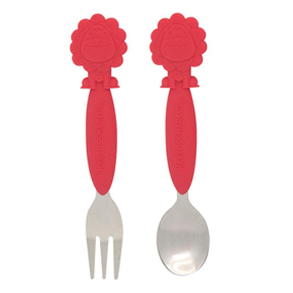 MARCUS&MARCUS - 動物樂園不鏽鋼叉匙餐具組-紅獅子