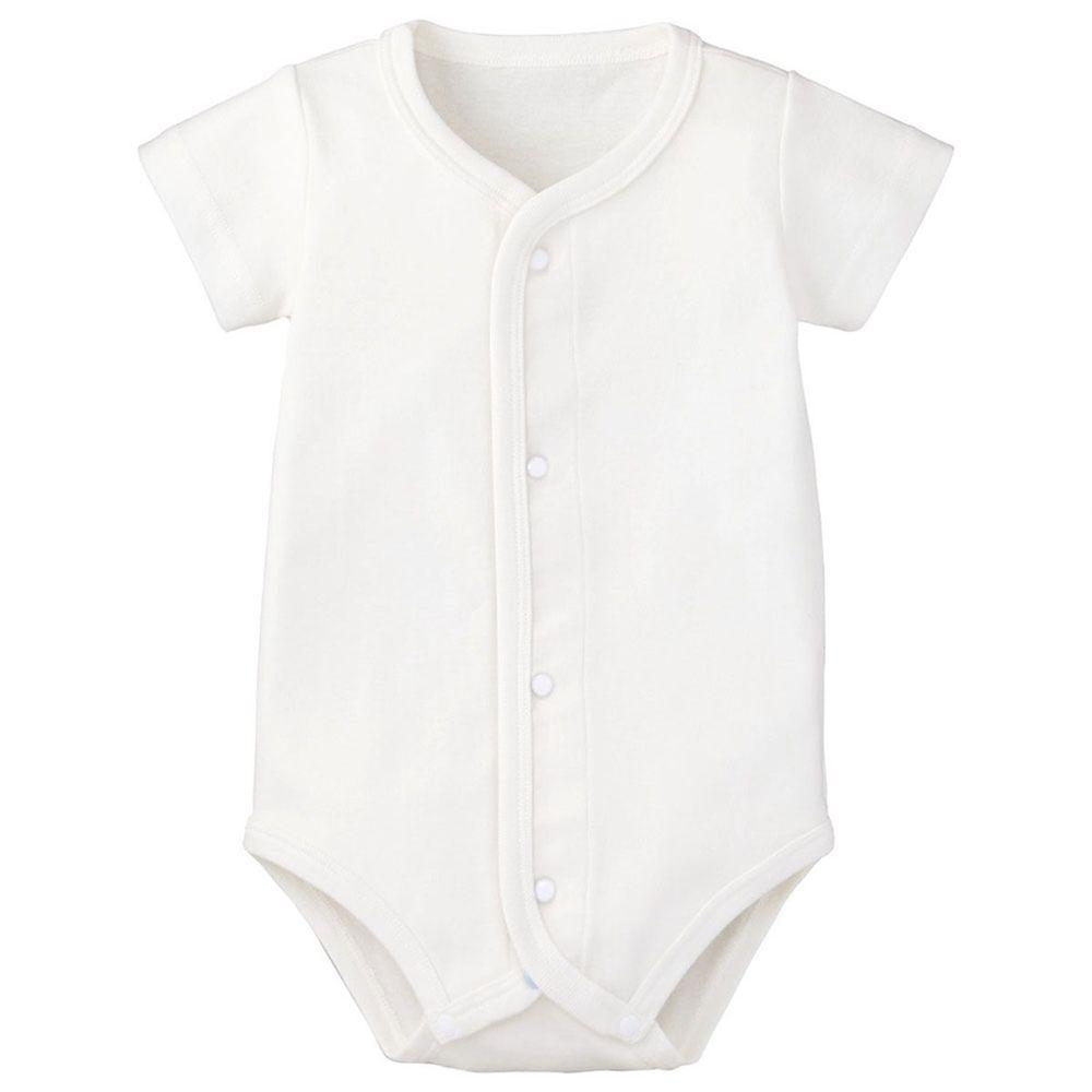日本 Combi - mini系列-純棉短袖前開包屁衣-白色
