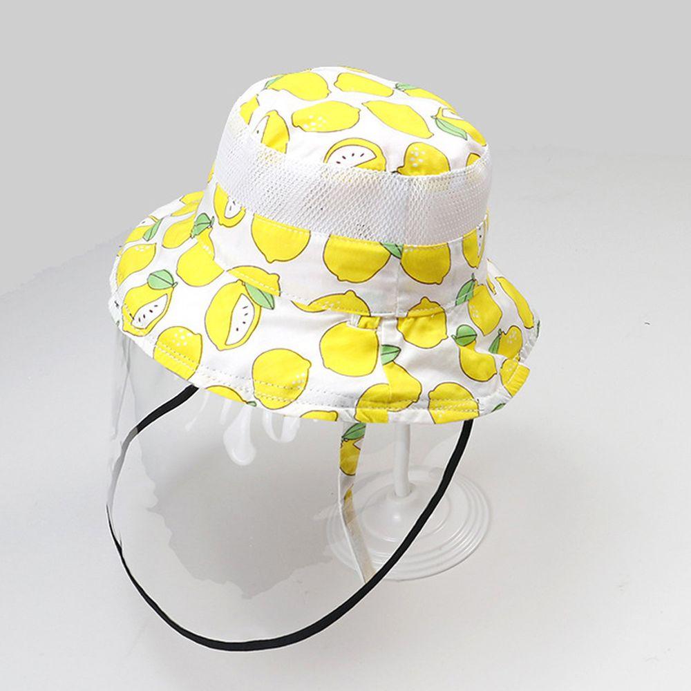 透氣網眼防飛沫雙面遮陽帽-滿版檸檬