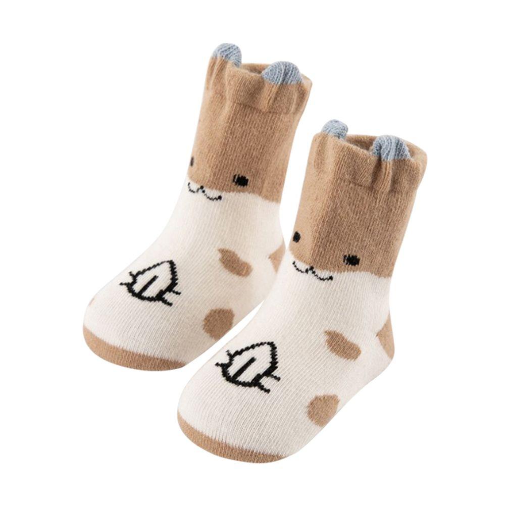 JoyNa - 立體耳朵造型 動物短襪(底部止滑)-卡其倉鼠