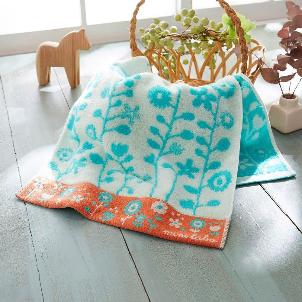 日本千趣會 - mini labo 法式浪漫無燃系純棉長毛巾-米X藍 (34x80cm)