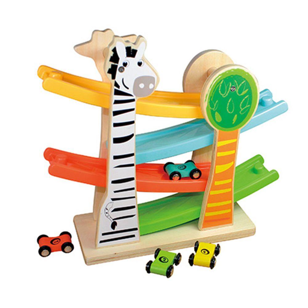 小牛津 - 歡樂動物軌道車 (27.5*31*10.5 cm)-歡樂動物軌道台*1、木製雙面軌道車*4