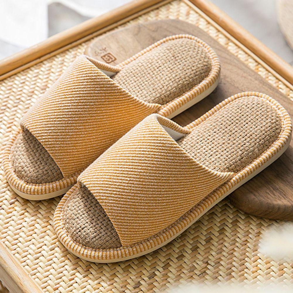 四季款亞麻防滑拖鞋-暖黃