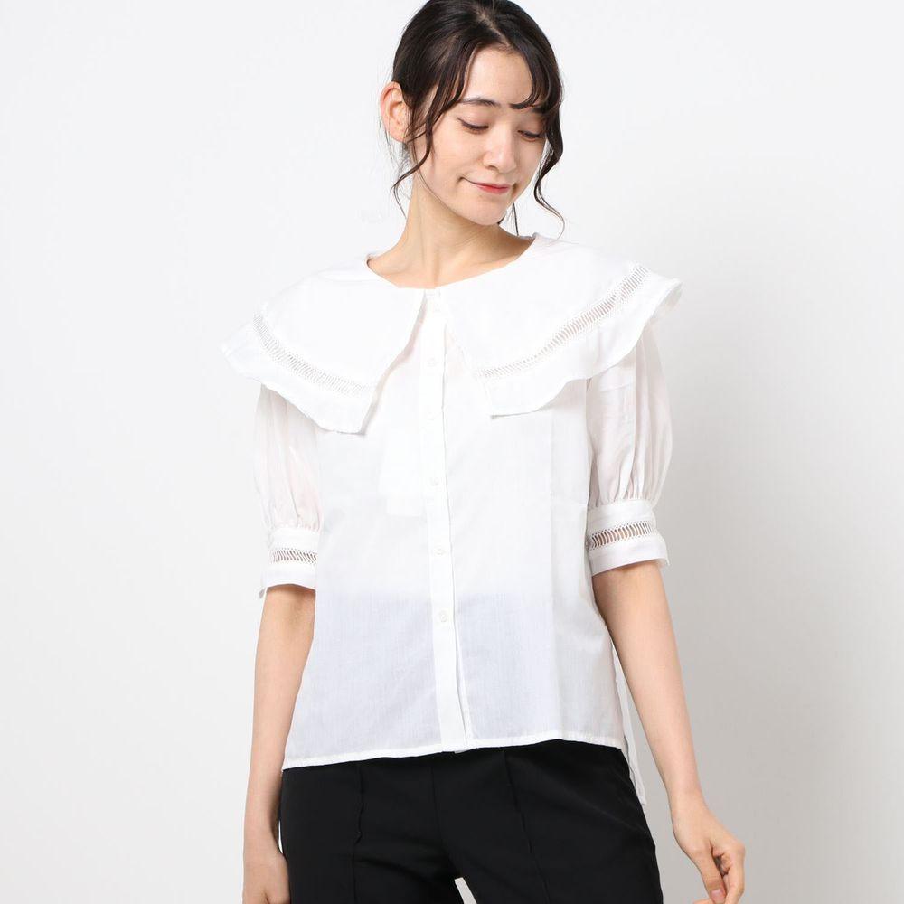 日本 Riche Glamour - 大荷葉領小鏤空短袖襯衫-白