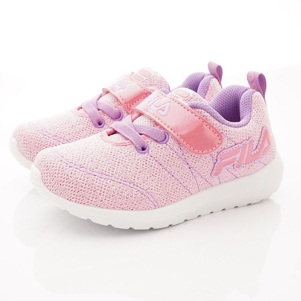 FILA - 運動童鞋-針織簡約慢跑鞋款(中大童段)-粉紫