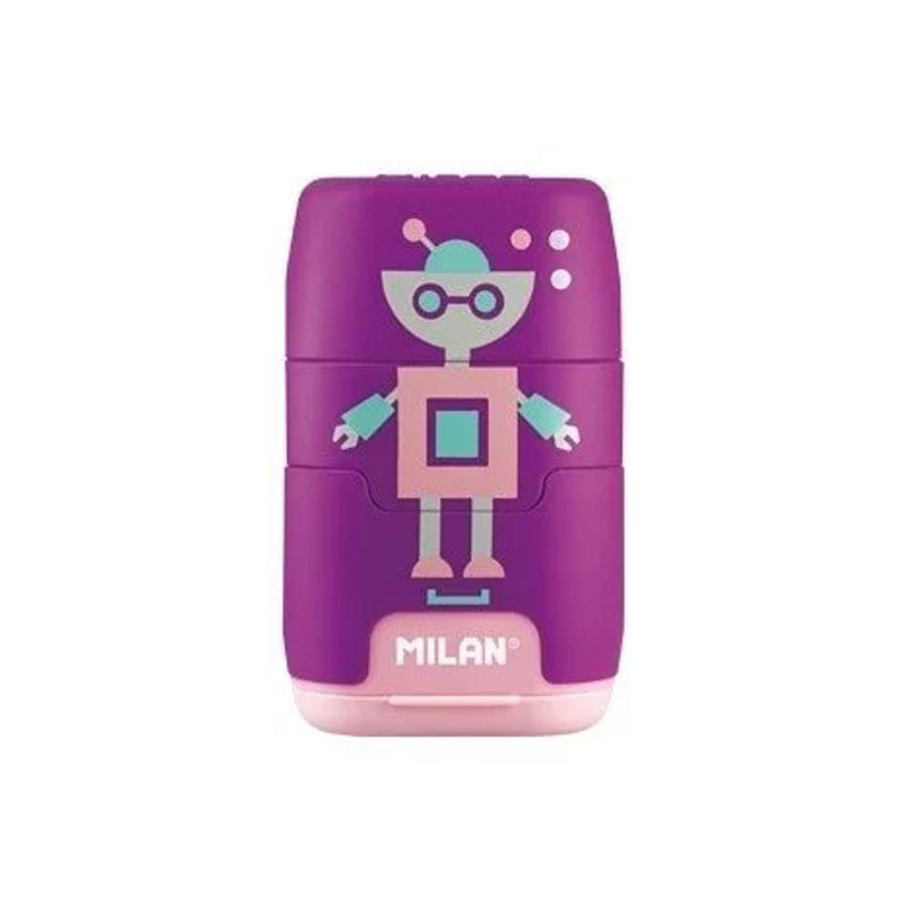 MILAN - COMPACT橡皮擦+削筆器_快樂機器人(紫)