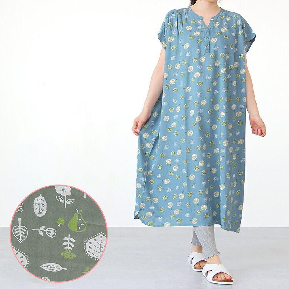 日本女裝代購 - COOL 涼感柔軟舒適家居短袖洋裝/睡衣-北歐森林-墨綠 (M-L Free)