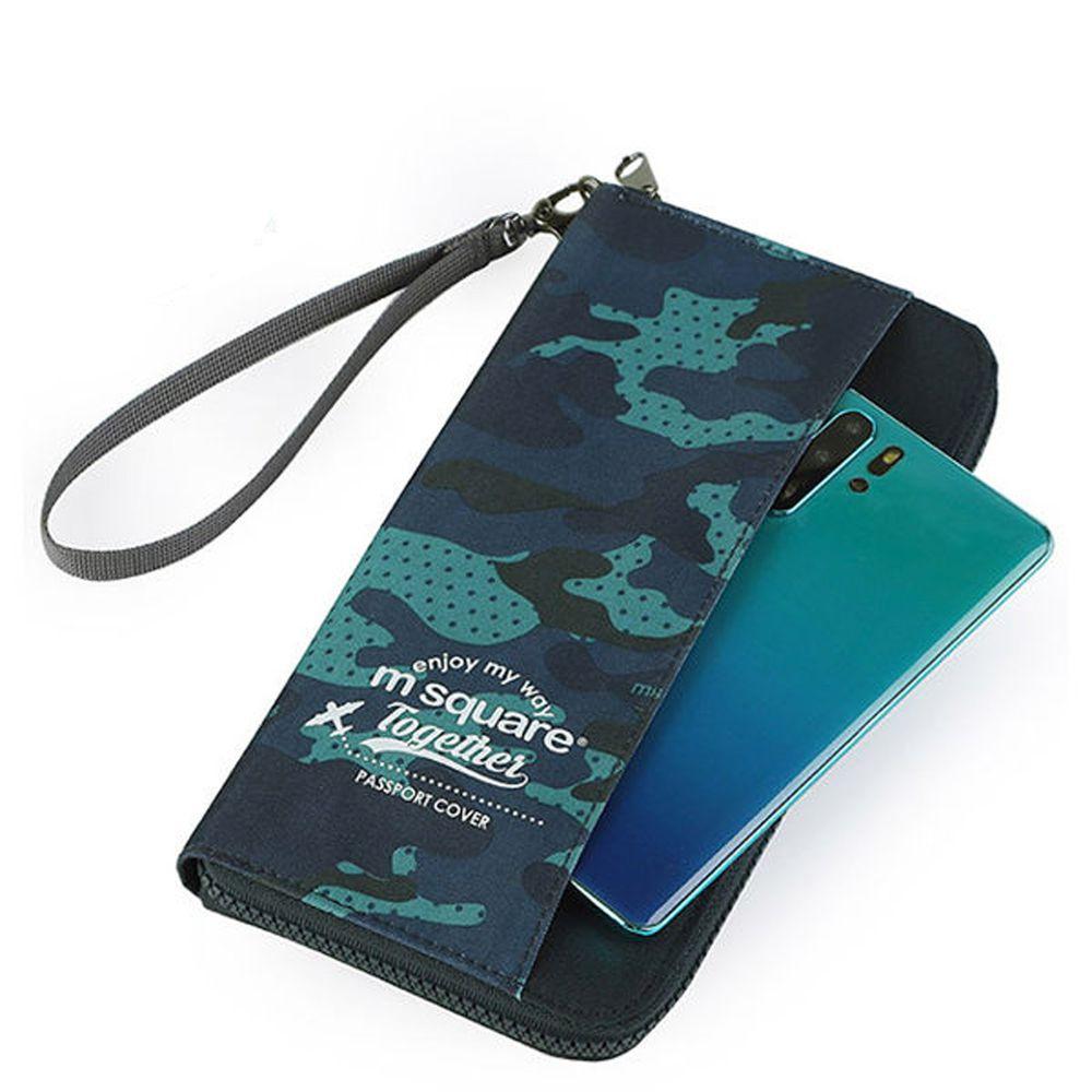 m square - 長版手挽護照夾紀念版-迷彩藍 (23*12cm)