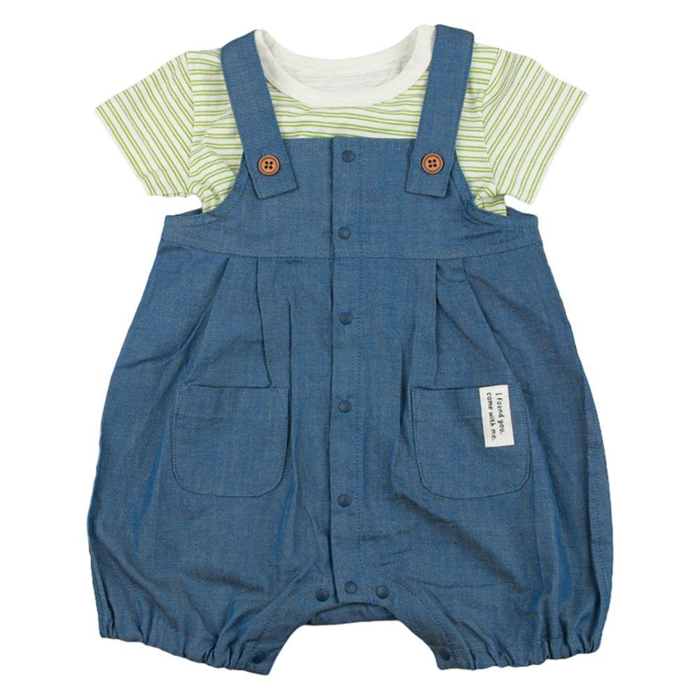 akachan honpo - 短袖T恤+連身衣-深藍色